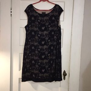 Sleeveless Navy & Nude Lace Dress
